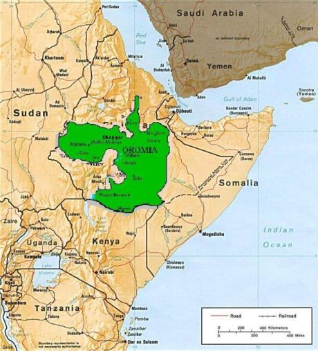 Oromia (Green) and the North East Africa