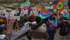 Flags of the Oromo and Ogaden people were on display at the May 9 rally in St. Paul, Minnesota