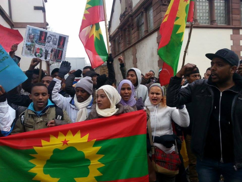 Oromians in Germany protested against OPDO Woyane visit 31st january 2015