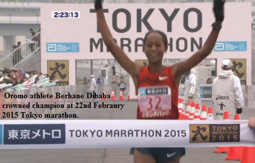 Berhane Dibaba win the 2015  Tokyo Marathon