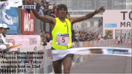 Endeshaw Negesse Shumi the champion of Tokyo Marathon 2015