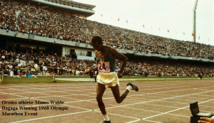 Oromo athlete Mamo Wolde Dagaga Winning 1968 Olympic Marathon Event