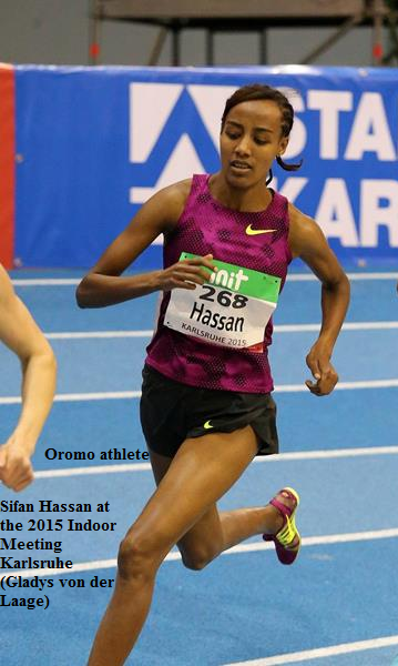 Oromo athlete Sifan Hassan at the 2015 Indoor Meeting Karlsruhe Gladys von der Laage