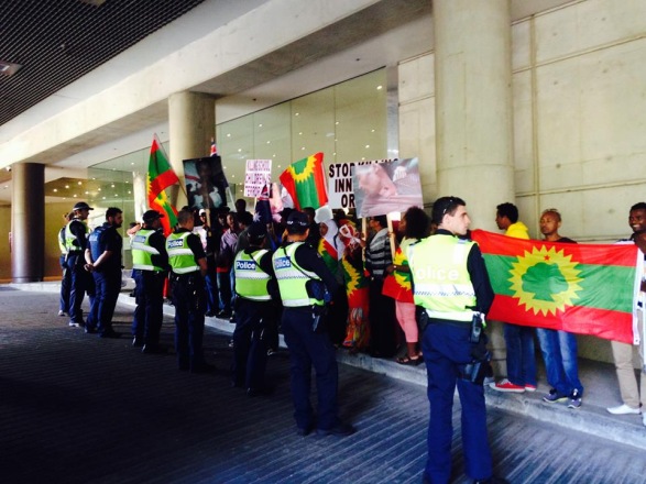 Oromo protests against OPDO TPLF agent and say no place for murderers in Australia