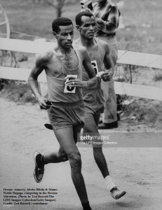 Oromo runners, Abebe Bikila & Mamo Wolde, competing in the Boston Marathon. Photo by Ted Russell.The LIFE Images Collection.Getty Images.