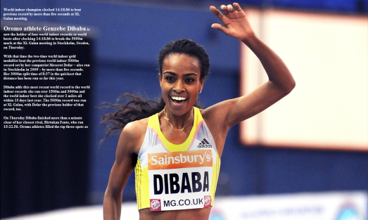 Orormo athlete Genzebe Dibaba smashes world record in 5000m indoor in 2015