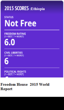Ethiopia's scores on freedom