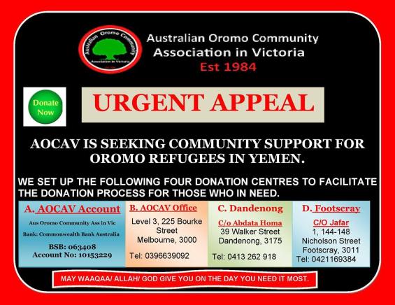 Australian Oromo Community urgent appeal to help Oromo refugees in Yemen