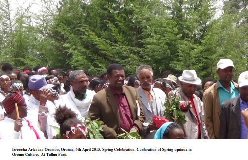 Celebration of Spring equinox in Oromo Culture.  At Tulluu Furii.