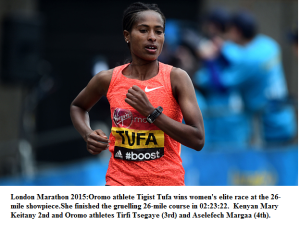 London Marathon 2015, Oromo athleteTigist Tufa wins women's elite race at the 26-mile showpiece