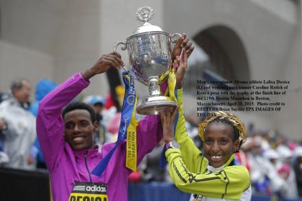 Oromo athele Lelisa Desisa win  the 2015 Boston mens Marathon.  Oromo athlete Mare Dibaba 2nd in Womens race.