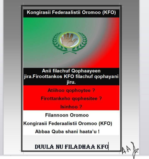 Oromo Federalist Congress election campaign