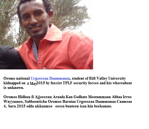 Oromo national Urgeessaa Dammanaa, student from Rift Valley University
