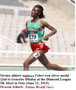 Oromo athelete Sinbiree Teferi 2nd in the Diamond League 5K Meet in Oslo (June 11, 2015)