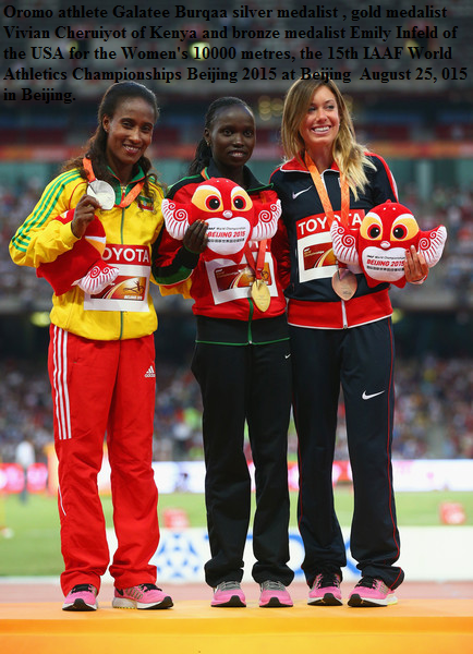 Oromo athlete Gelete Burka silver medalist in 10k IAAF world championship in Beijing, China, August 2015