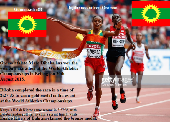 Oromo athlete Mare Dibaba has won the women's marathon at the World Athletics Championships in Beijing on 30th August 2015.