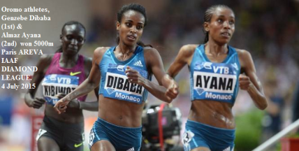 Oromo athletes, Genzebe Dibaba and Almaz Ayana won AREVA 2015, 5000m