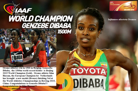 Oromo athletes Genzebe Dibaba and Sifan Hassan win 1500 race in IAAF Beijing 2015