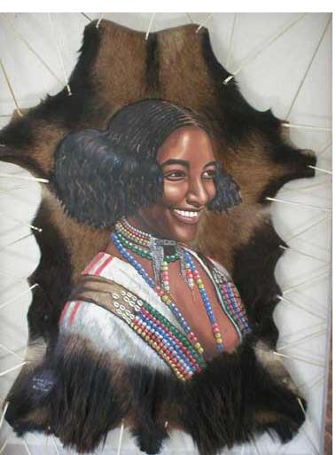 Portrait of Oromo woman by Dr. Artist Lammaa Guyyaa Gammadaa, Oromo artist (painter)