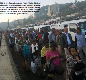 This is the Ethiopian capital Addis Ababa (Finfinne) where the population of the early morning standing in long lines under the blazing sun (Sunday August 2015) for the purchase of sugar, oil and other basic goods
