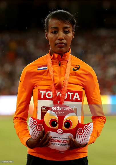 Oromo athlete Sifan Hassan receiving Medal in Beijing 15th IAAF World Championship
