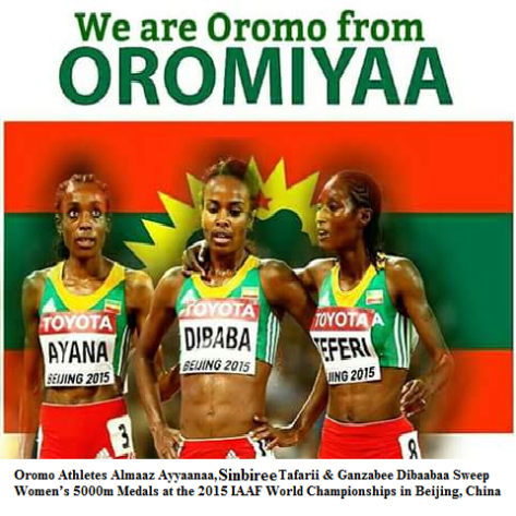 Oromo Athletes Almaaz Ayyaanaa, Sanbaree Tafarii & Ganzabee Dibaabaa Sweep Women's 5000m Medals at the 2015 IAAF World Championships in Beijing, China