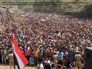 Millions of Oromos, and visitors from around the world, converged in Bishoftu, Oromia, by Hora Arsadi (Lake Arsadi), to celebrate this year Irreecha Birraa Oromo Festival, which is the largest such public event in Africa.