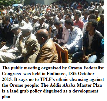 Oromo Federalist Congress Public Meeting in Finfinnee to protest TPLF's landgrab in the name of Master Plan