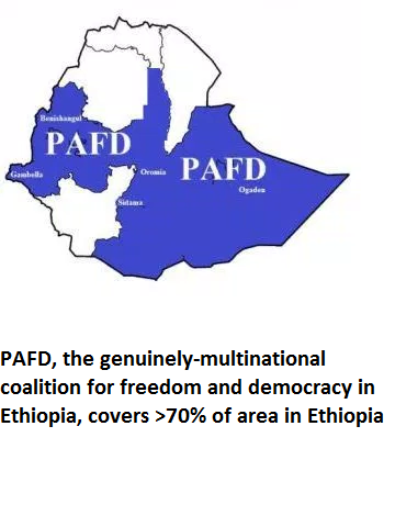 PAFD, the genuinely-multinational coalition for freedom and democracy in Ethiopia, covers greater than 70% of area in Ethiopia