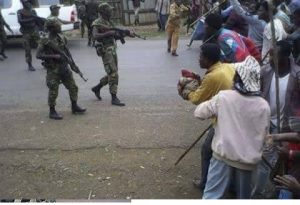 Agazi, fascist TPLF Ethiopia's forces attacking unarmed and peaceful #OromoProtests in Baabichaa town central Oromia (w. Shawa) , December 10, 2015