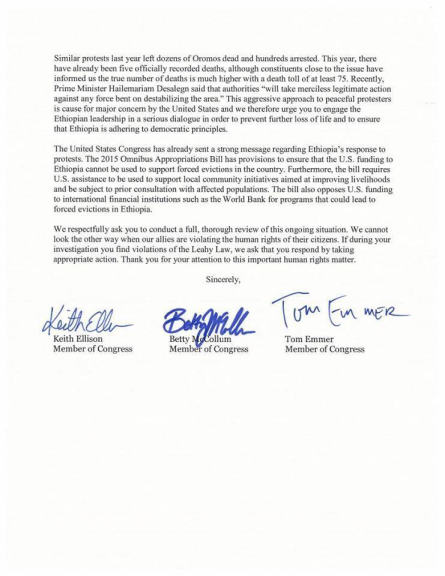 #‎OromoProtests‬ US Congress Members Keith Ellison, Betty McCollum & Tom Emmer write letter to U.S. Department of State