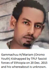 Gammachuu H. Mariam Oromo youth kidnapped by Agazi