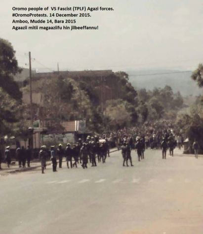 Oromo people of VS Fascist (TPLF) Agazi forces. #OromoProtests. 14 December 2015.