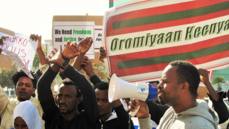 Oromo Protest Outside Of Ethiopian Embassy In Israel