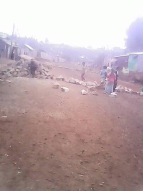 #OromoProtests @Buraayyuu (C. Oromia), elementary school students bloocked roads, 14 December 2015