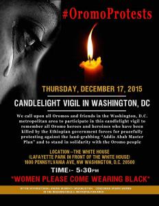 #OromoProtests candlelight vigil 17 Dec. 2015