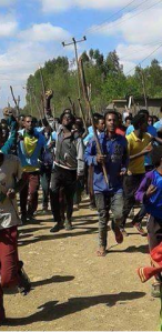 #OromoProtests second round  at General Tadesse Biruu School, Ejere town, North Shawa December 28, 2015