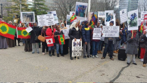 Toronto, Oromo Peaceful rally in solidarity with #OromoProtests in Oromia against TPLF Ethiopian regime's ethnic cleansing (Master plan), December 10, 2015