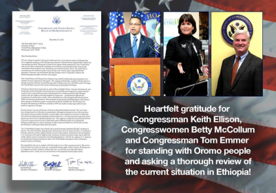 Congressman Keith Ellison and Tom Emmer, and Congresswomen Betty McCollum stood with the Oromo people by condemning the actions of the Ethiopian government and asking for a thorough review.