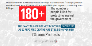 Death toll climbs as #OromoProtests still rage in Oromia state ( Ethiopia); schools remain closed. As of 30 january 2016. Fascist Ethiopian regime conducts genocide against Oromo people.