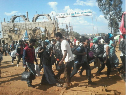 #‎OromoProtests‬ students abandoning Dilla University as death toll from attacks reaches at least 5. 2nd January 2016
