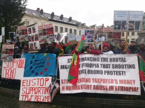 Oromo Demonstration in Brussels Demands European Union to take a Firm Stand against Ethiopian Government. 15 january 2016