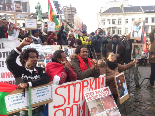 Oromo Demonstration in Brussels Demands European Union to take a Firm Stand against Ethiopian Government, on 15 january 2016. p2