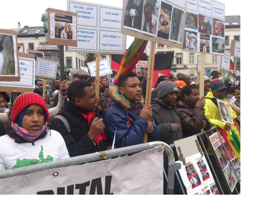 Oromo Demonstration in Brussels Demands European Union to take a Firm Stand against Ethiopian Government, on 15 january 2016