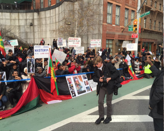 Oromo Demonstration in New York Demands UN to take a Firm Stand against Ethiopian Government, on 15 january 2016
