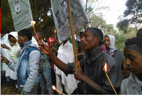 Oromo youth and families in Ginchi paused to remember Aschalew Worku. 24 january 2016