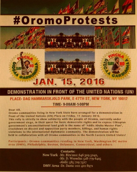 #OromoProtests,Solidarity rally infront of UN, New York 15 January 2016