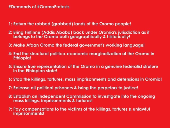 Demands of #OromoProtests