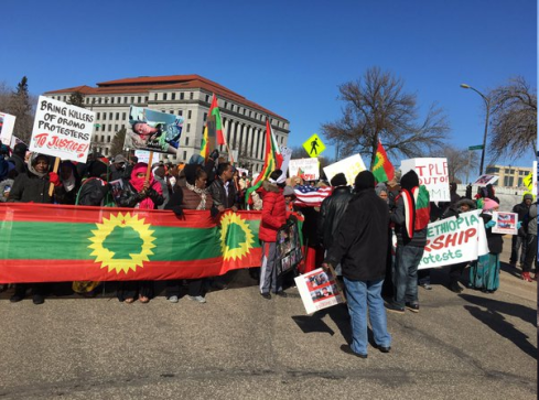 Minnesota's Oromo community rallied at the State Capitol on  29 Feb 2016 in solidarity with OromoProtests in Oromia. p2