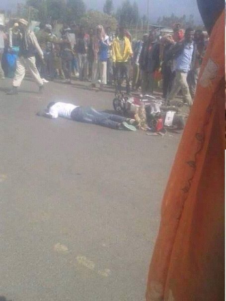 OromoProtests, picture showing a moment a young man Samuel Abash was gunned down by Agazi in Haro Limu, East Walaga Feb 25, 2016